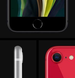 Vue de face, profile et arrière d l'iPhone SE.